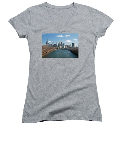 Philly Winter Women's V-Neck T-Shirt (Junior Cut) by Jennifer Ancker