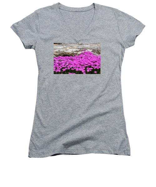 Women's V-Neck T-Shirt (Junior Cut) featuring the digital art Phlox by Barbara S Nickerson