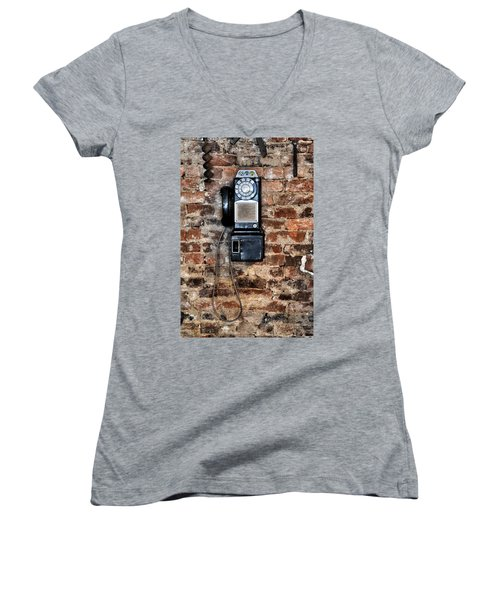 Pay Phone  Women's V-Neck (Athletic Fit)