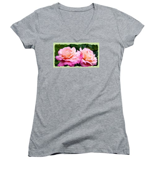 Photogenic Peace Roses Women's V-Neck T-Shirt (Junior Cut) by Will Borden