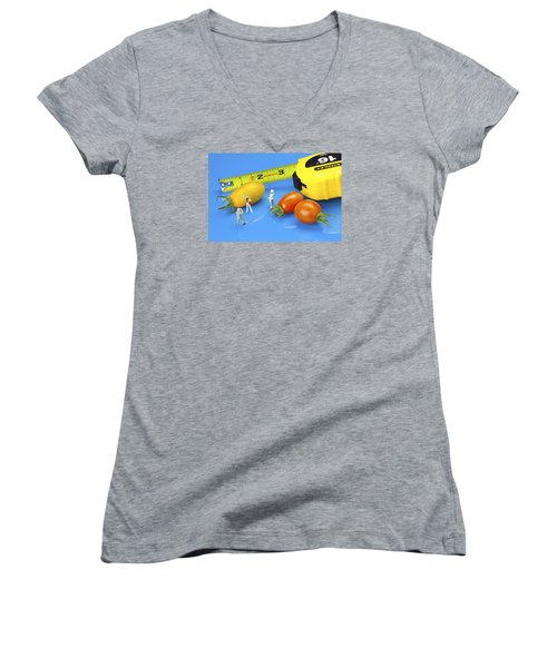 Women's V-Neck T-Shirt (Junior Cut) featuring the photograph Photography Of Tomatoes Little People On Food by Paul Ge
