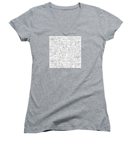 Women's V-Neck T-Shirt (Junior Cut) featuring the drawing Physics Forms by Gina Dsgn