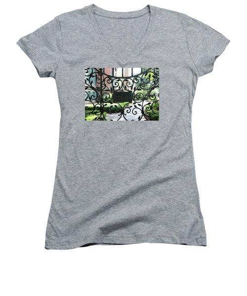 Pi Kappa Phi Gate Women's V-Neck T-Shirt (Junior Cut) by Ed Waldrop