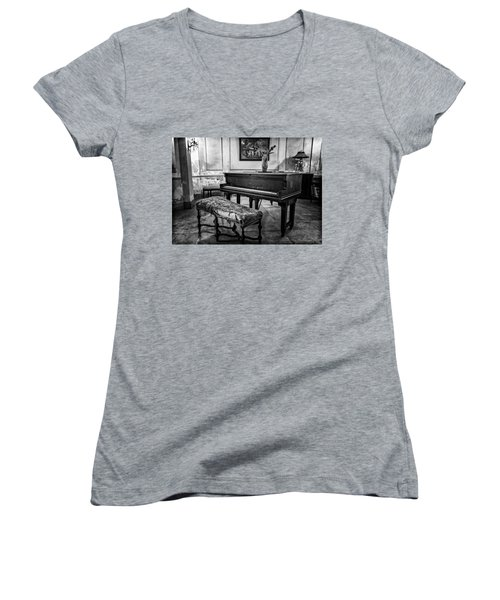 Women's V-Neck T-Shirt (Junior Cut) featuring the photograph Piano At Josie's House Bw by Joan Carroll