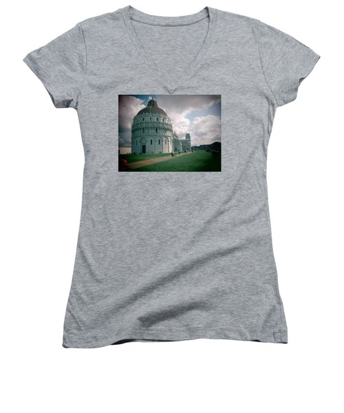 Women's V-Neck T-Shirt (Junior Cut) featuring the photograph Piazza In Piza by Christin Brodie