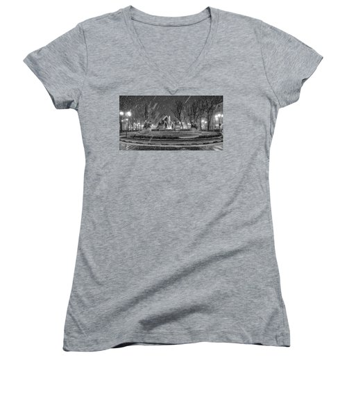 Women's V-Neck T-Shirt (Junior Cut) featuring the photograph Piazza Solferino In Winter-1 by Sonny Marcyan