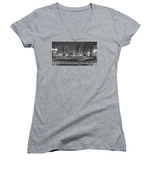 Piazza Solferino In Winter-1 Women's V-Neck T-Shirt (Junior Cut) by Sonny Marcyan