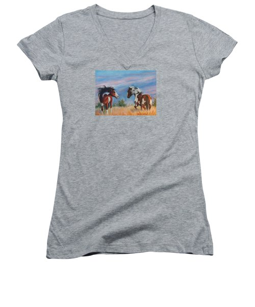 Women's V-Neck T-Shirt (Junior Cut) featuring the painting Picasso Challenge by Karen Kennedy Chatham