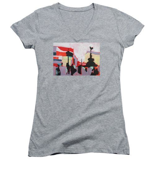 Piccadilly Circus Women's V-Neck T-Shirt (Junior Cut) by Nop Briex