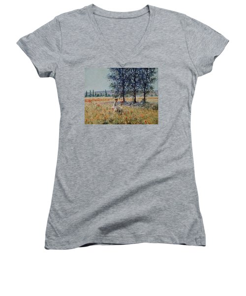 Picking Flowers  Women's V-Neck T-Shirt