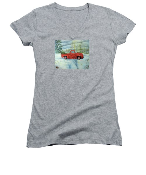 Picking Up The Christmas Tree Women's V-Neck