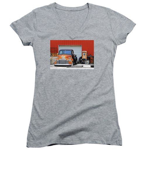 Women's V-Neck T-Shirt (Junior Cut) featuring the photograph Pickup Chevrolet by Christopher McKenzie