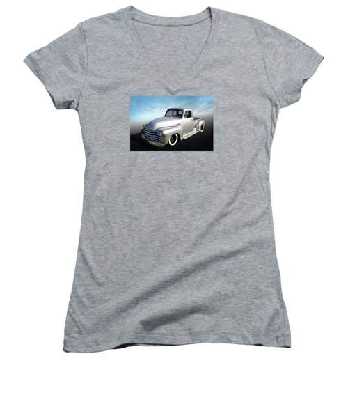 Women's V-Neck T-Shirt (Junior Cut) featuring the photograph Pickup Truck by Keith Hawley