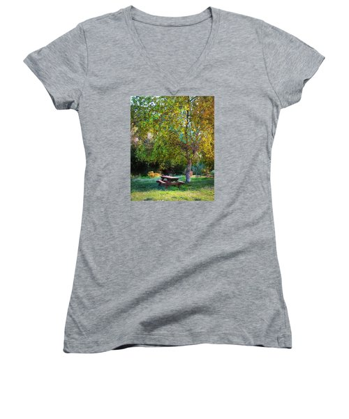 Women's V-Neck T-Shirt (Junior Cut) featuring the photograph Picnic Table by Timothy Bulone