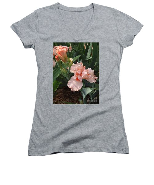 Women's V-Neck T-Shirt (Junior Cut) featuring the photograph Picture Peach by Nancy Kane Chapman