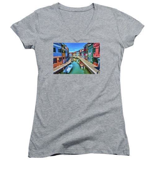 Picturesque Buildings And Boats In Burano Women's V-Neck