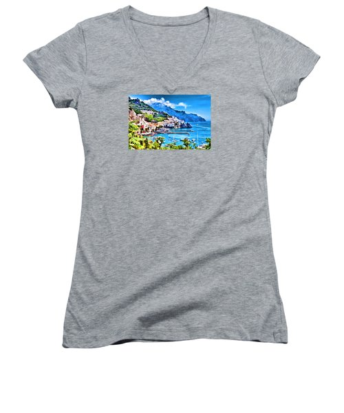 Picturesque Italy Series - Amalfi Women's V-Neck T-Shirt (Junior Cut) by Lanjee Chee