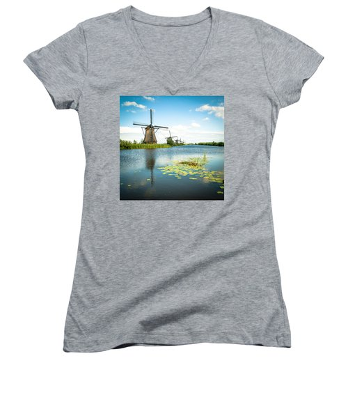 Women's V-Neck T-Shirt (Junior Cut) featuring the photograph Picturesque Kinderdijk by Hannes Cmarits