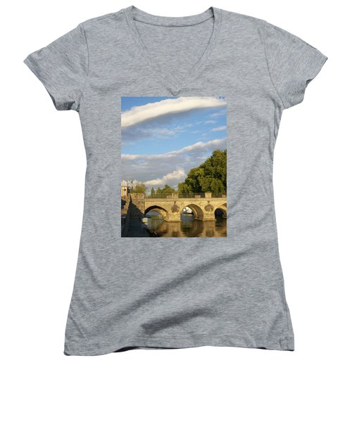 Women's V-Neck T-Shirt (Junior Cut) featuring the photograph Picturesque by Mary Mikawoz