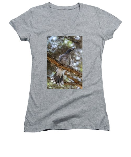 Pied Currawong Chick 1 Women's V-Neck
