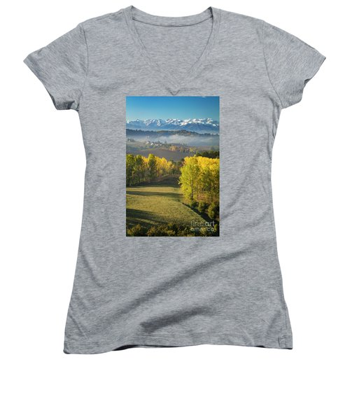 Women's V-Neck T-Shirt (Junior Cut) featuring the photograph Piemonte Morning by Brian Jannsen