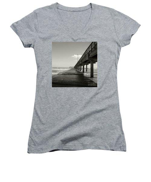 Pier 1 Women's V-Neck T-Shirt (Junior Cut) by Sebastian Mathews Szewczyk