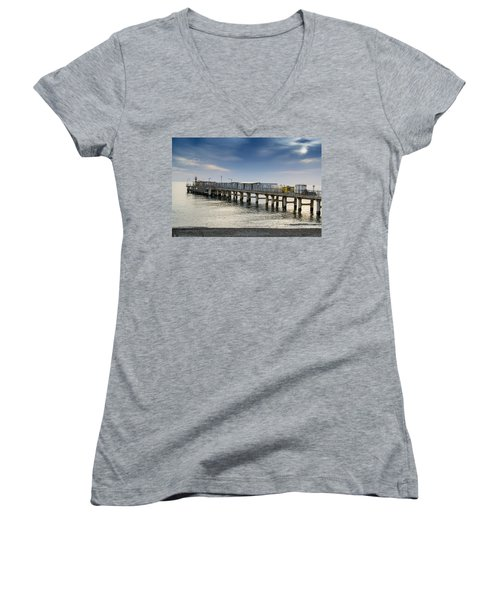 Women's V-Neck T-Shirt (Junior Cut) featuring the photograph Pier At Sunset by John Williams