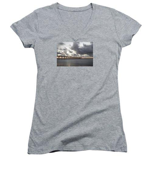Pier In Misty Waters Women's V-Neck T-Shirt (Junior Cut) by Ed Clark