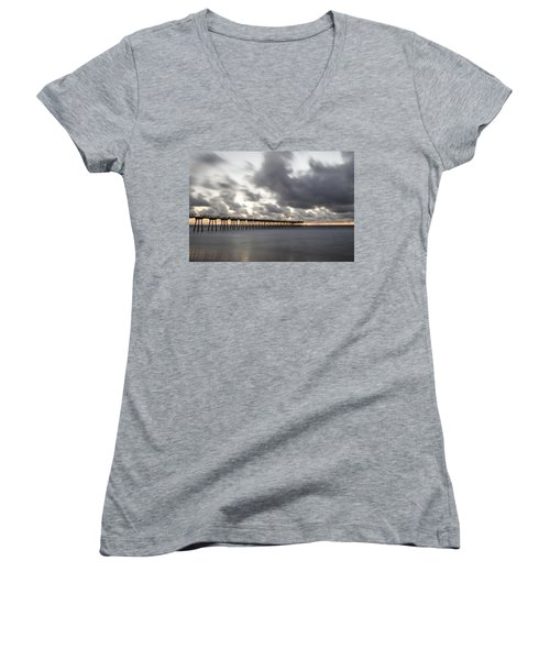 Pier In Misty Waters Women's V-Neck