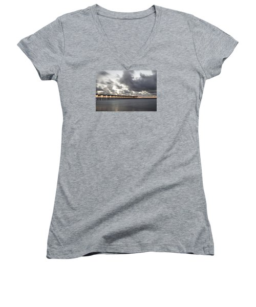 Pier In Misty Waters Women's V-Neck T-Shirt