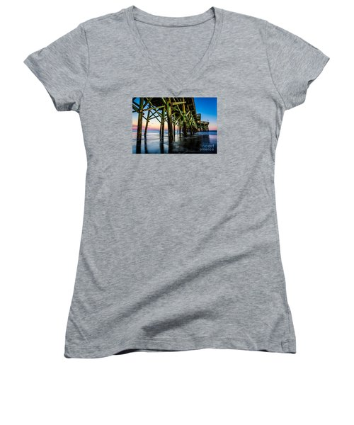 Pier Perspective Women's V-Neck T-Shirt (Junior Cut) by David Smith