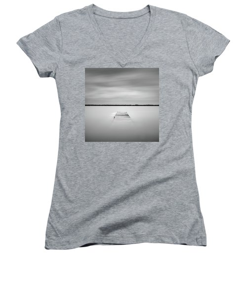 Women's V-Neck (Athletic Fit) featuring the photograph Pier Sinking Into The Water by Todd Aaron