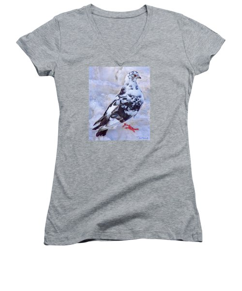 Women's V-Neck T-Shirt (Junior Cut) featuring the photograph Pigeon On Ice  1 by John Selmer Sr