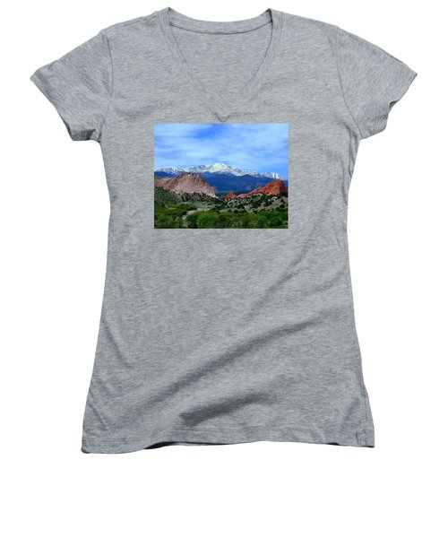 Women's V-Neck featuring the photograph Pikes Peak And Garden Of The Gods 1 by Joseph R Luciano
