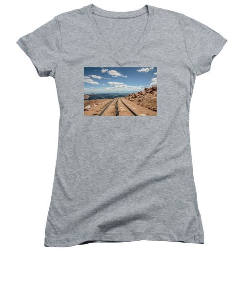 Women's V-Neck T-Shirt (Junior Cut) featuring the photograph Pikes Peak Cog Railway Track At 14,110 Feet by Peter Ciro