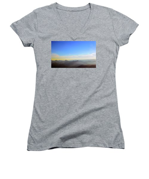 Pilchuck And Three Sisters Sunrise Women's V-Neck (Athletic Fit)