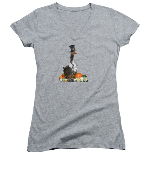 Pilgrim Goose Women's V-Neck T-Shirt (Junior Cut) by Gravityx9 Designs