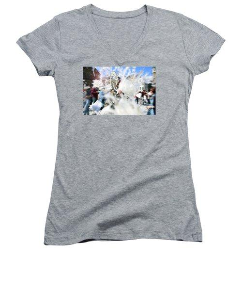 Pillow Fight Women's V-Neck T-Shirt (Junior Cut) by Ana Mireles