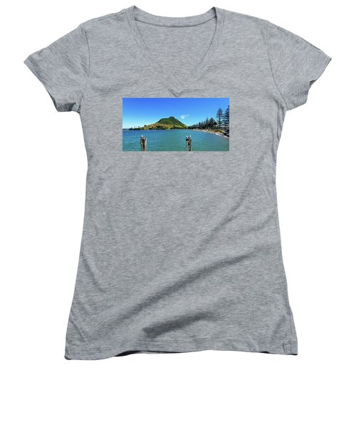 Pilot Bay Beach 2 - Mount Maunganui Tauranga New Zealand Women's V-Neck