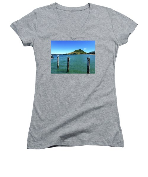 Pilot Bay Beach 3 - Mt Maunganui Tauranga New Zealand Women's V-Neck