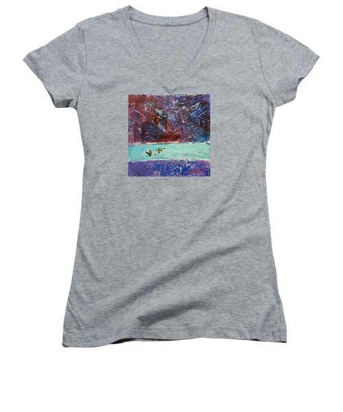 Women's V-Neck T-Shirt (Junior Cut) featuring the painting Pin Tails by David  Maynard