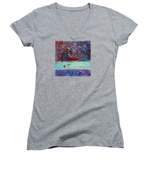 Pin Tails Women's V-Neck T-Shirt (Junior Cut) by David  Maynard