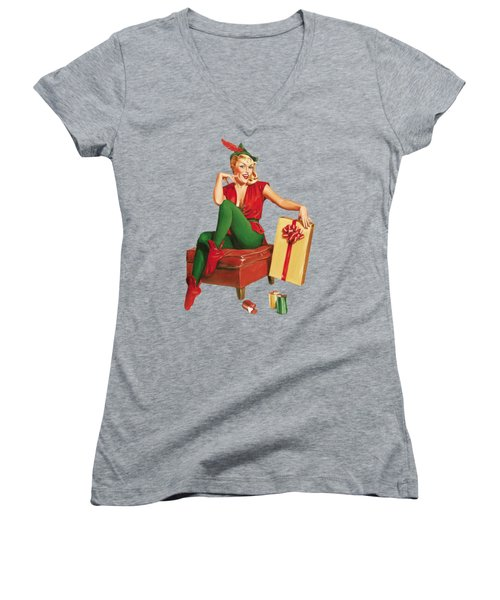 Pin-up Sexy Elf Woman With Gift Women's V-Neck (Athletic Fit)