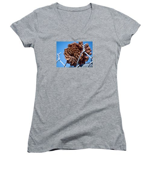 Pine Cone On The Fence Women's V-Neck T-Shirt (Junior Cut) by Cathy Jourdan
