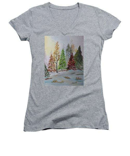 Pine Cove Women's V-Neck T-Shirt (Junior Cut) by Jack G Brauer