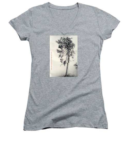 Women's V-Neck T-Shirt (Junior Cut) featuring the drawing Pine Drawing by Maja Sokolowska