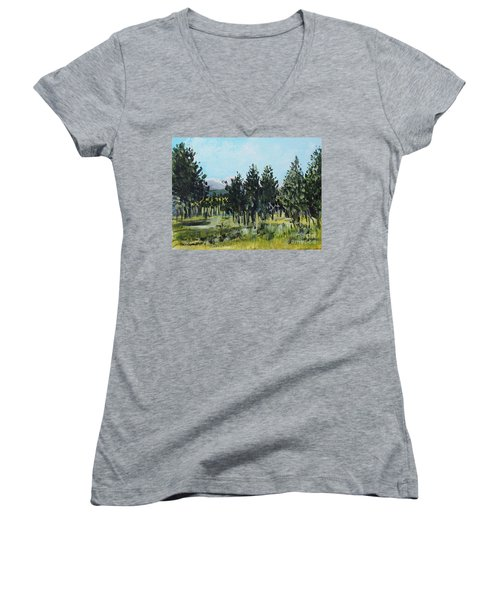 Pine Landscape No. 4 Women's V-Neck T-Shirt