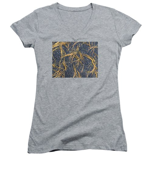 Pine Needles Women's V-Neck T-Shirt (Junior Cut) by R  Allen Swezey