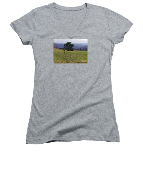 Women's V-Neck T-Shirt (Junior Cut) featuring the photograph Pine On Sentry by Christian Mattison
