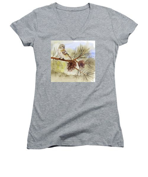 Pine Siskin Among The Pinecones Women's V-Neck T-Shirt (Junior Cut) by Thom Glace